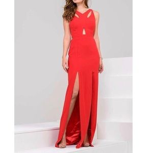 V-Neck Cutout Sheath Gown with Dual Slits